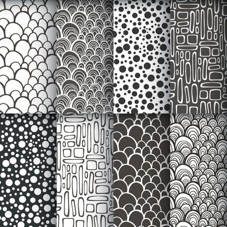 Black and white geometric seamless patterns se