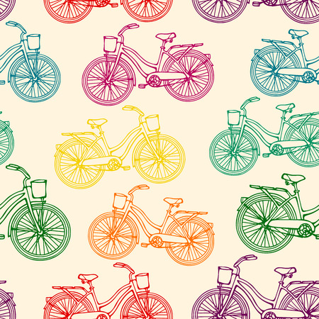 Seamless pattern with outline colorful rainbow vintage bicycles  Vector