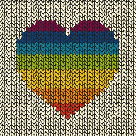 虹とのシームレスな背景ニット心  イラスト・ベクター素材