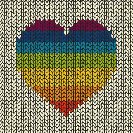 Seamless background with rainbow knitted heart  Vectores