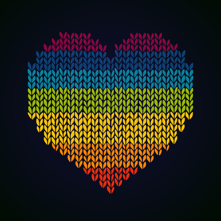 decora: Rainbow knitted heard background  Template for design and decora Illustration