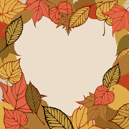 heartshaped: Heart-shaped frame made of autumn leaves  Romantic card  Illustration