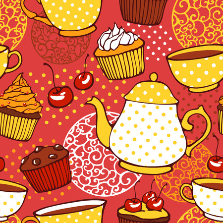 afternoon fancy cake: Tea and muffins sweet seamless pattern