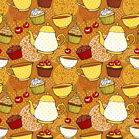 five o'clock: Tea and muffins sweet seamless pattern