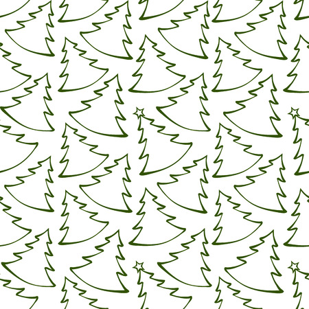 Seamless pattern with outline Christmas trees  Endless backgroun Vector