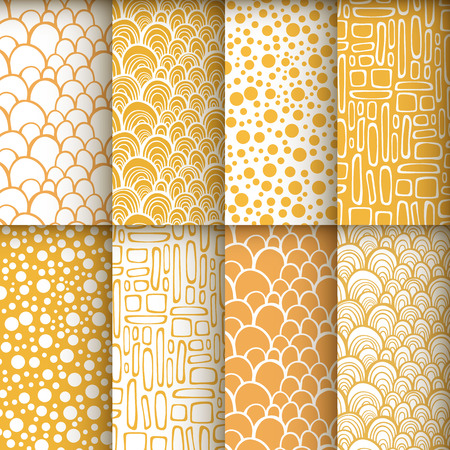 Decorative doodle geometric seamless patterns set Vector