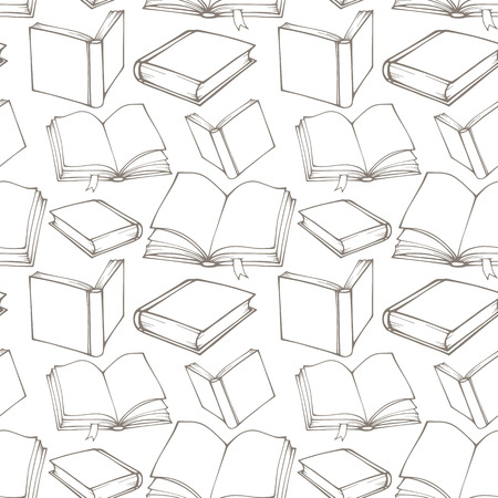 Seamless pattern with outline decorative books 版權商用圖片 - 30901713