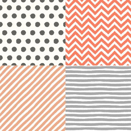 4 hand drawn painted seamless geometric patterns set