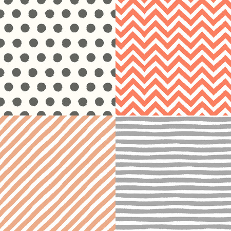 4 hand drawn painted seamless geometric patterns set