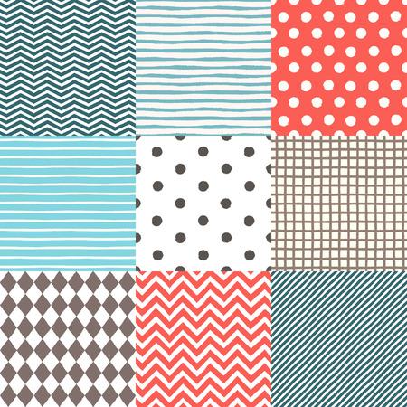 Set of 9 hand drawn painted geometric seamless patterns