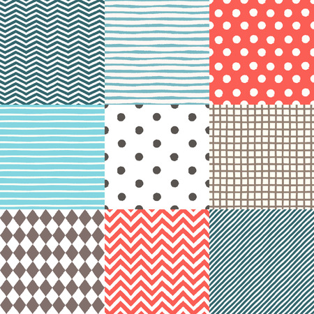 Set of 9 hand drawn painted geometric seamless patterns