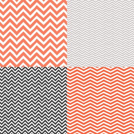 Geometric chevron seamless patterns set  Hand drawn texture Vector