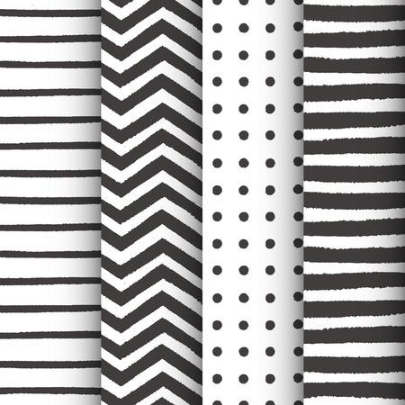 Painted geometric seamless patterns set Vector