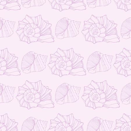oceanside: Seamless pattern with outline decorative seashells  Neutral back Illustration