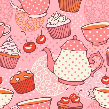 Tea time hand drawn seamless pattern  Decorative backgrou