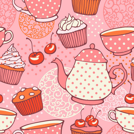 afternoon fancy cake: Tea time hand drawn seamless pattern  Decorative backgrou