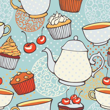 english breakfast tea: Tea time hand drawn seamless pattern  Decorative backgrou