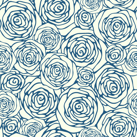 roses background: Seamless pattern with outline roses
