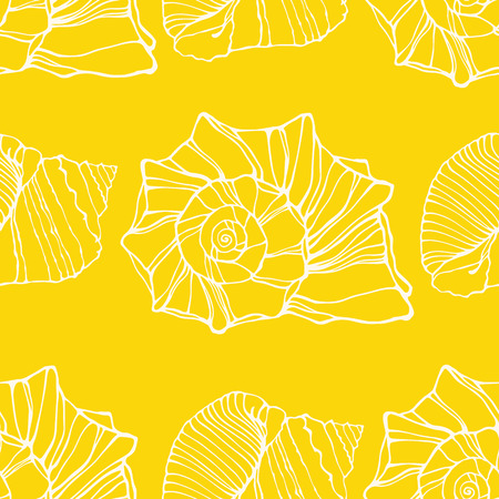 oceanside: Seamless pattern with decorative shells