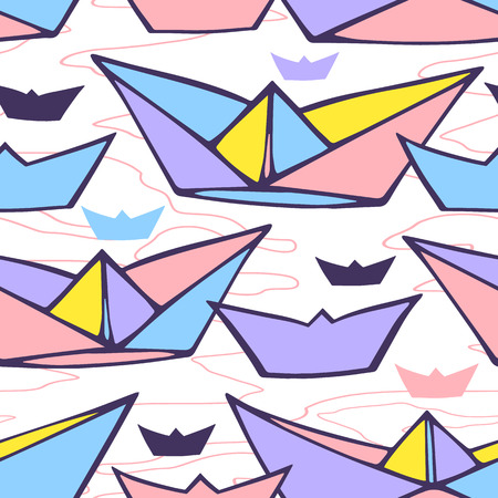 Seamless pattern with paper ships Vector