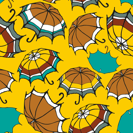 Seamless pattern with decorative umbrellas Vector