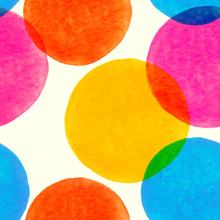 Seamless pattern with painted watercolor circles Vector