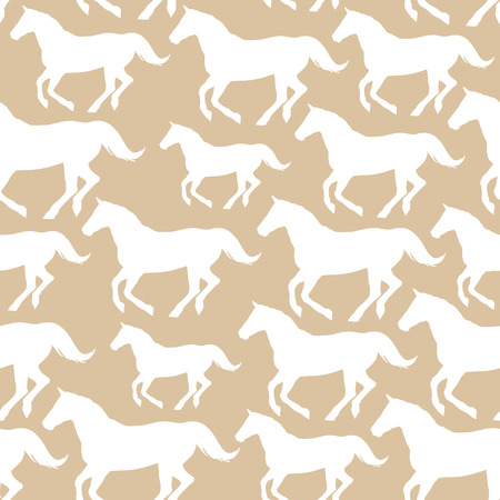 Seamless pattern with stylized horses Stock Illustratie