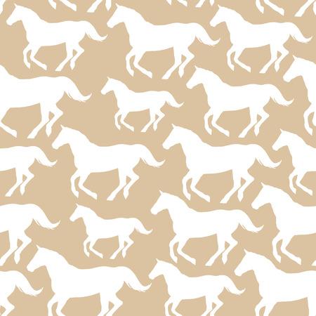 Naadloos patroon met gestileerde paarden