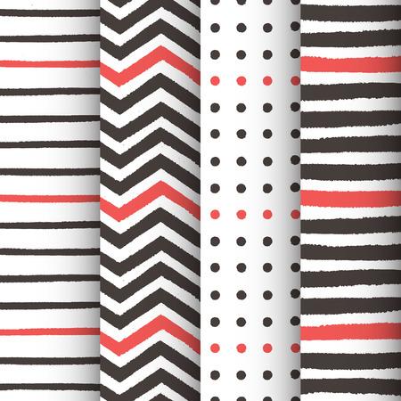 描かれた 4 の手描きの幾何学的なパターンのセット  イラスト・ベクター素材