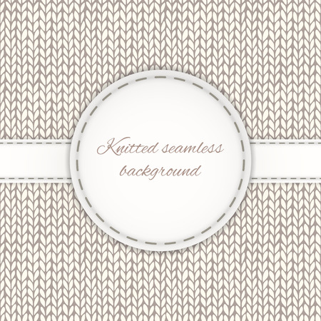 Seamless knitted background with stitched frame Illustration