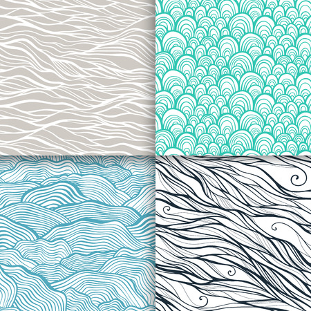 Neutral hand drawn doodle seamless patterns set Vector