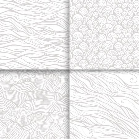 Neutral monochrome doodle seamless patterns set Vector