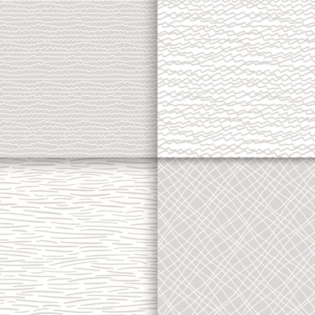Geometric doodle seamless patterns set Vector