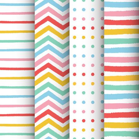 Hand drawn painted geometric patterns set