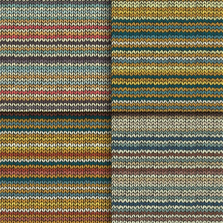 Set of seamless patterns with knitted stripes texture Vector