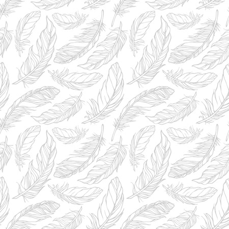 Seamless pattern with decorative feathers Illustration