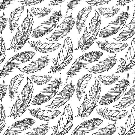 装飾的な羽を持つシームレス パターン