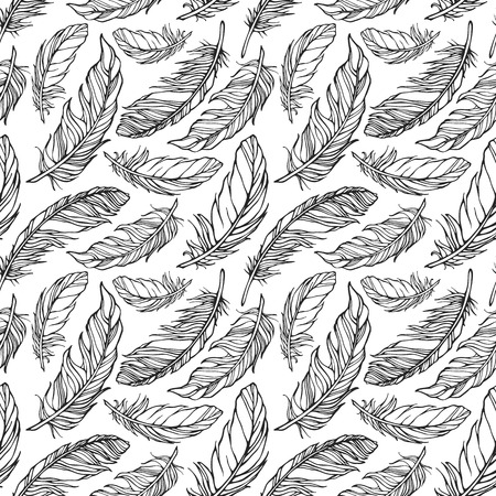 Seamless pattern with decorative feathers Vectores