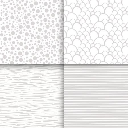 Simple neutral monochrome seamless patterns set Vector