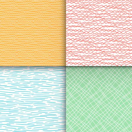 幾何学的な落書きのシームレスなパターンのセット