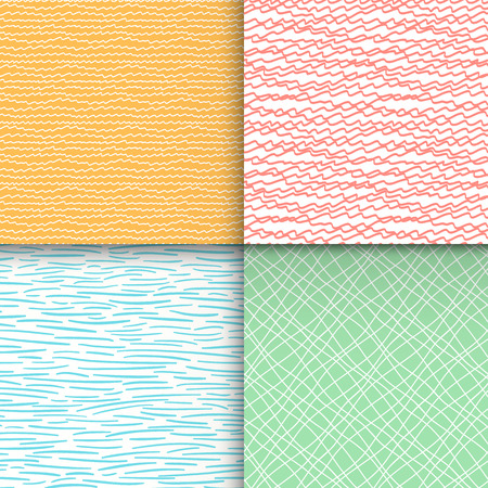 Geometric doodle seamless patterns set 向量圖像