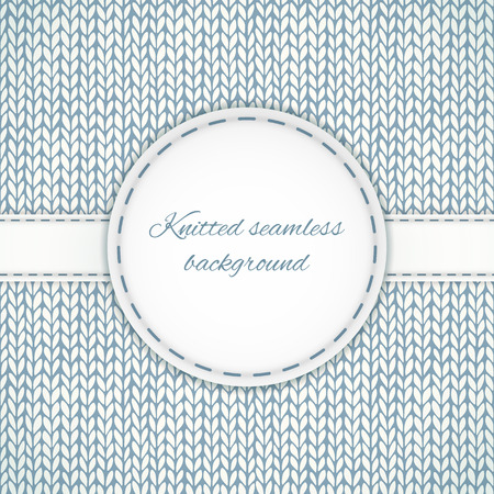 knitted background: Seamless knitted background with stitched frame Illustration