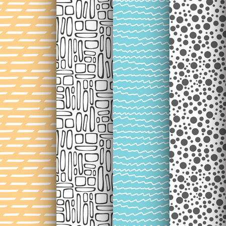 Set of 4 simple doodle seamless patterns Vectores