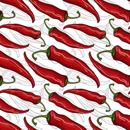 装飾的な唐辛子とのシームレスなパターン  イラスト・ベクター素材