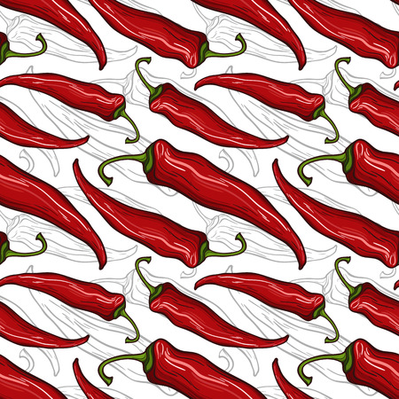 Seamless pattern with decorative chili peppers 向量圖像