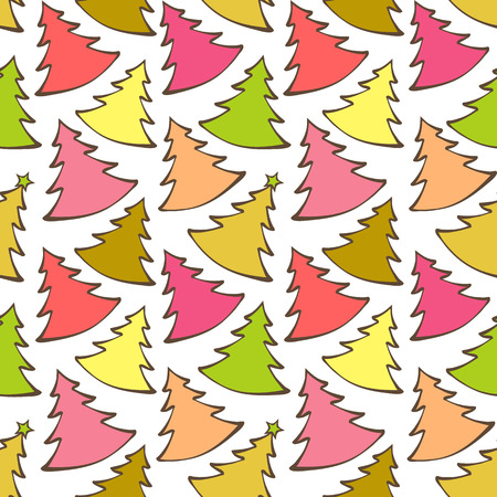 christmas plaid: Seamless pattern with colorful Christmas trees