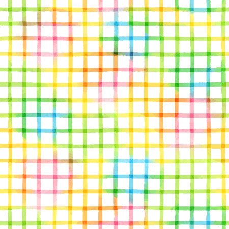 Seamless pattern with checkered watercolor geometric texture Vector