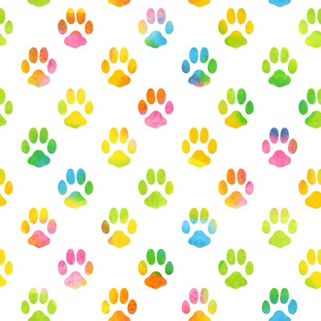 Seamless pattern with watercolor animal footprint texture
