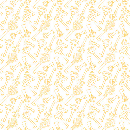 Seamless pattern with outline vintage keys Vector
