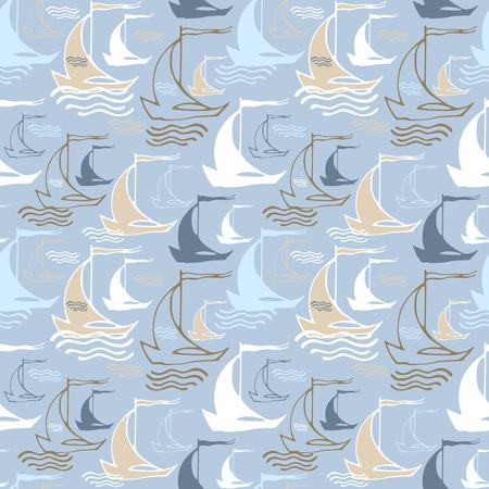 Seamless nautical pattern with decorative sailing boats Illustration